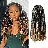 7 Packs Pre-twisted Passion Twist YEBO Pre Looped Passion Twist Crochet Hair 20 Strands Small Passion Twist Crochet Braids(18inch M1B-27)