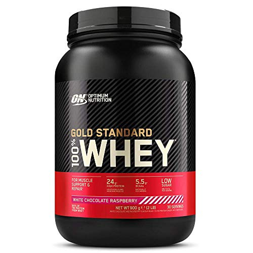 Optimum Nutrition Gold Standard Whey Protein, Muscle Building Powder With Naturally Occurring Glutamine and Amino Acids, White Chocolate Raspberry, 30 Servings, 900 g, Packaging May Vary