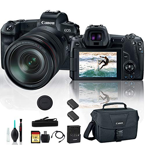 Canon eos r mirrorless digital camera 3075c012 with 24-105mm lens with extra battery, canon bag, 32gb memory card and more - starter bundle
