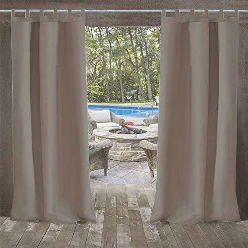 Domdil Vorhang für den Außenbereich, blickdicht, Thermo, Vorhang wasserdicht und schimmelfest, Pavillon und Balkon, Dekoration am Strand, 1 Stück, 132 x 215 cm, Grau / Taupe