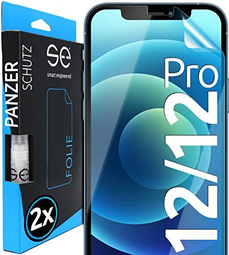 [2 Stück] 3D Schutzfolien kompatibel mit iPhone 12 & iPhone 12 Pro - [Made in Germany - TÜV NORD] – Hüllenfreundlich – Transparent – kein Glas sondern Panzerfolie TPU
