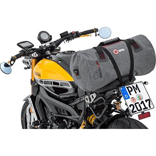 QBag Hecktasche Motorrad Motorradtasche Hecktasche/Gepäckrolle wasserdicht 10, Netzinnentasche, inklusive anklickbaren Schultergurt, widerstandsfähig, reißfest, Grau, 35 Liter