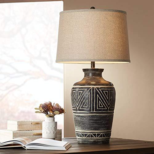 Miguel Rustic Southwestern Style Table Lamp Earth Tone Jar Linen...