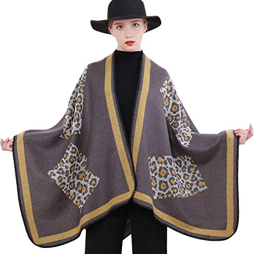 RIIQIICHY Vrouwen Winter Warm Vest Poncho Cape Deken Oversized Trui Vest Sjaal Wrap Pashmina