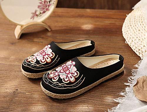 YYYSHOPP Pisos de Mujer Vegan Hecho a Mano Mujeres Millas Millas ZAPADORES MADRIAS COMPLETORIOS COMPLETOS Zapatos de Alpargatas Retro Bohemio Bohemio Zapatos Bordados