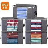 84L Aufbewahrungstasche Kleideraufbewahrung Faltbare Groß Unterbett Aufbewahrungsbeutel mit Reißverschluss für Bettdecken, Kleidung, Bettzeug, Decken, Kissen, Steppdecken, gartenauflagen, 5 Stück