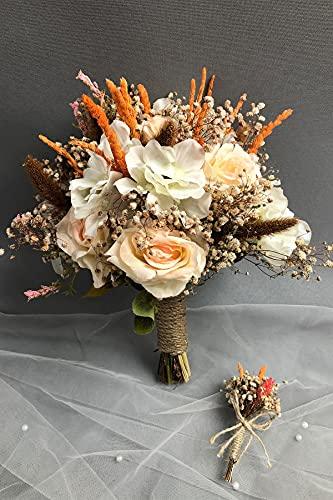 Hayalperest Weiß und Lachs Brautstrauß und Bräutigam Kragen Blumenbraut, Hochzeit, Brautblume, Hand Blume, Zeremonie, Blume