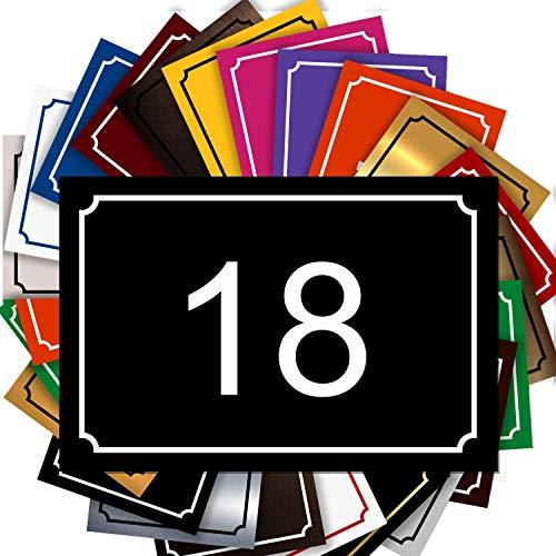 Plaque Numéro De Rue - Numéro De Maison PVC – Plaque Gravée À Personnaliser 15 x 10 cm – 21 Couleurs Disponibles (Noir)