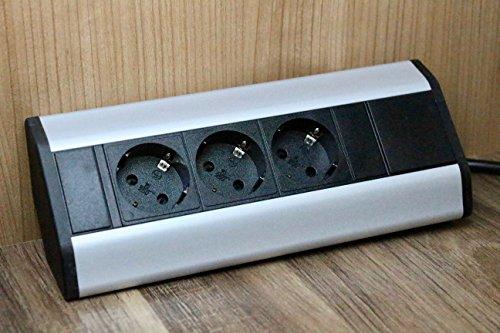 Premium Eck-Steckdose 3x Schuko für Küche, Büro aus Aluminium. Mehrfachsteckdose mit 1,8m Schuko Kabel auch als Möbelsteckdose. Steckdosenleiste ideal für Arbeitsplatte als Aufbausteckdose.