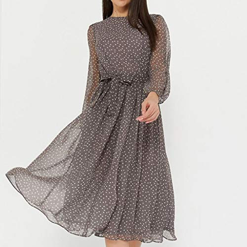XJJZS Elegant Polka Dot Long Sleeve Spring Ladies Dress, Winter Casual O-Neck Chiffon a Dress Retro Party (Size : Large)