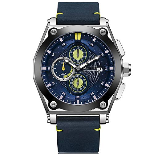 MEGIR Armbanduhr Herren Uhren Luxus Navy Blau Lederarmband Blau Zifferblatt Militär mit Groß Chronograph Kalender Wasserdicht und Leucht XL