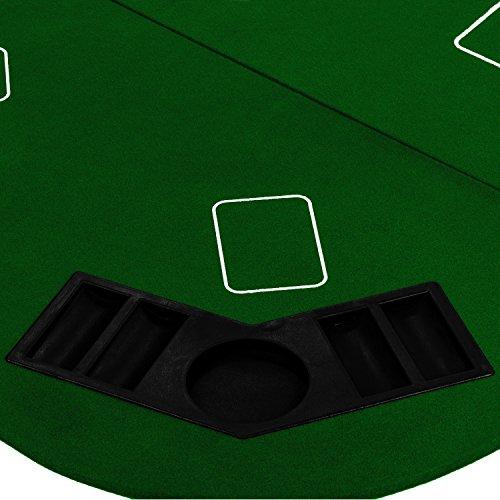 Maxstore Faltbare XXL Pokerauflage für bis zu 8 Spieler, Maße 160×80 cm, MDF Platte, 8 Getränkehalter, 8 Chiptrays, grün - 5