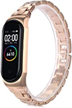 RGBIWCO - Watch Band Replacement, Metal Screwless Stainless Steel for Xiaomi Mi Band 4 Strap Bracelet Miband 4 Wristbands Pulseira