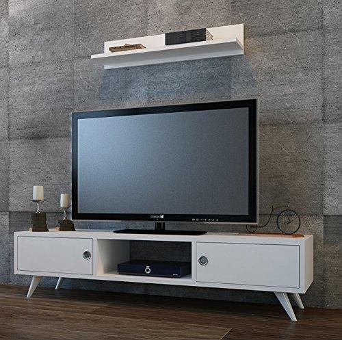 HOMIDEA Aspen - Banc TV/Meuble TV avec étagère Murale de Salon au Design Moderne (Blanc)