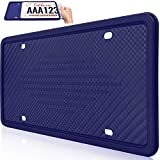 Uxinuo License Plate Frame Universal American Auto License Plate Holder, Rust-Proof, Rattle-Proof, Weather-Proof with 3 Drainage Holes, Dark Blue, 1Pack