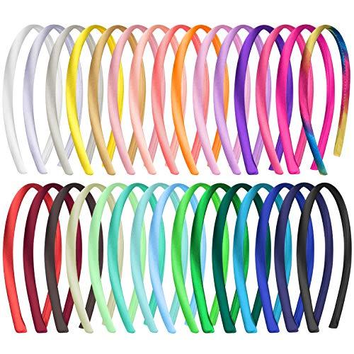 Duufin 30 Stück Haarreifen Satin 1cm Haarreif Stirnbänder für Mädchen Damen, 30 Farben