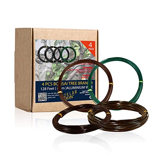 ZELARMAN Bonsai Training Wire Set of 4 - Total 128 Feet(32 Feet Each Size) 3 Size - 1.0MM,1.5MM,2.0MM - Corrosion and Rust Resistant