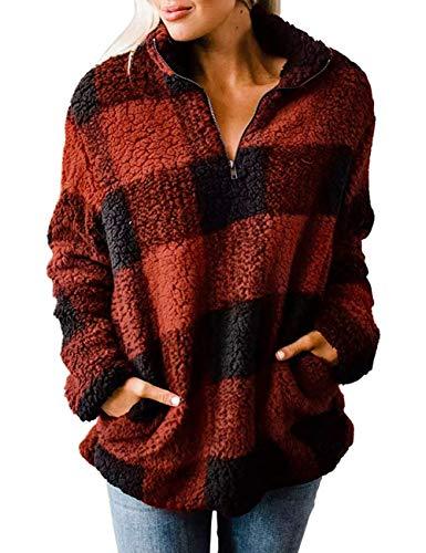 MEROKEETY Women's Plaid Sherpa Fleece Zip Sweatshirt Long Sleeve Pockets Pullover Jacket, OrangeRed, L