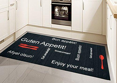 CARPETIA Küchenläufer Küchenteppich Gelläufer waschbar schwarz rot Weiss mit Schriftzug Guten Appetit Größe 80x150 cm