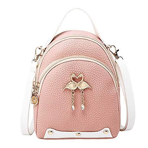 Damen-Rucksack, einfarbig, Leder, Kleiner Schwan, Rucksack, Schultertasche, Mini-Rucksäcke für Mädchen, Rose (Pink) - 6924173528861