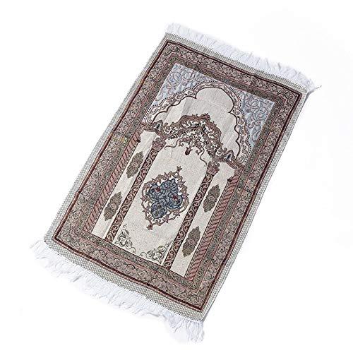 Vdn Djvn - Alfombra de oración de algodón musulmán, diseño floral de pilar, alfombra de alfombra con pompón, 65 x 110 cm
