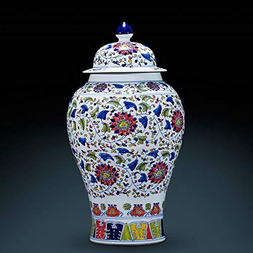 MESYR Keramik Qianlong Blau und Weiß Klassische chinesische Vase Traditionelle handgemachte Tempelglasvase Porzellan Keramikvase Ingwerglas