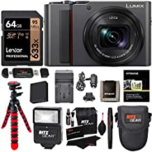 Panasonic Lumix DC-ZS200S Digital Camera (Silver) with 64GB Memory Card, Tabletop Tripod, Camera Case, Flash, Cleaning Kit, Battery, Charger Kit and More