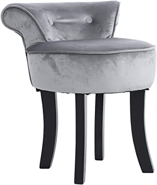 Vanity Stool Cushioned with Low Back, Comfortable Chenille Pad Stool Modern Lounge Round Chair On Solid Wooden Legs for Girl&