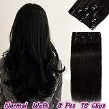 20cm Extensiones de Cabello Humano Clip in Hair Extension 8 Piezas 18 Clips Pelo Natural Remy -65g 1# Negro Azabache