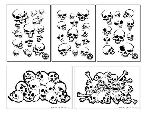 Acid Tactical Mylar Skull Spray Malschablonen RC Modellpistole Airbrush Totenkopf Maske 5 Designs
