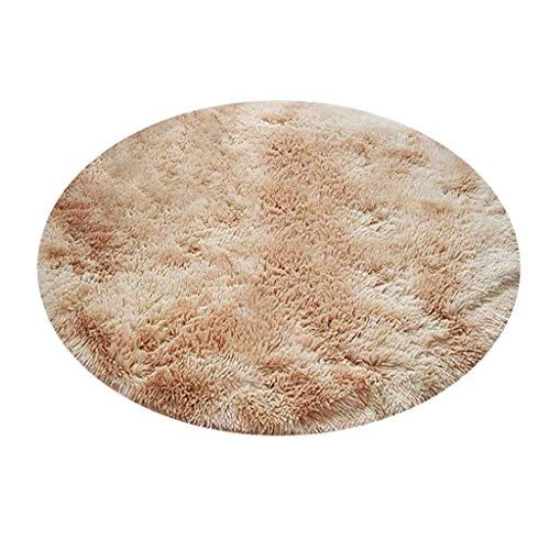 Sunnymi Alfombra Redonda de Felpa, moqueta de Tie-Dye, Suave, Antideslizante, Lavable, decoración para sofá o Sala de Estar, algodón, Beige, 80 cm