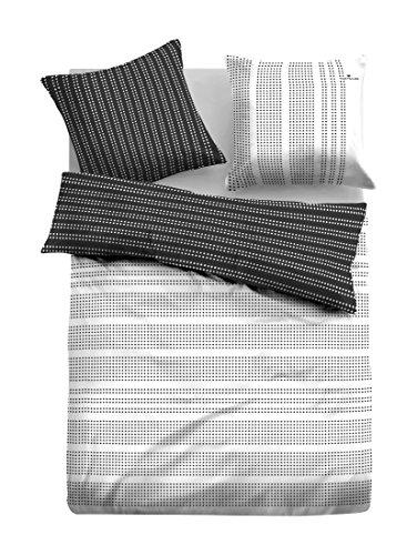 TOM TAILOR 0069835 Satin Bettwäsche Garnitur mit Kopfkissenbezug (Baumwolle) 1x 135x200 cm + 1x 80x80 cm, schwarz