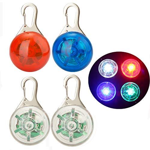 NONMON 4Pcs Sicherheits Clip-On LED Blinklicht Hunde Katzen LED Licht Leuchtanhänger Wasserdicht 3 Blinkmodis Halsband Light für Kinder, Läufer, Jogger, Walker, Fahrradfahrer
