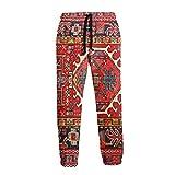 Inaayayi Irán alfombra persa oriental Glam iraní étnico tradicional tribal para hombres y mujeres, pantalones deportivos casuales con impresión 3D, pantalones de chándal holgados con cordón