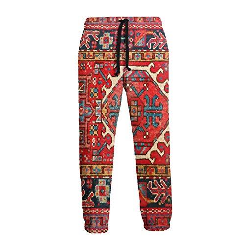 Inaayayi Iran Tapis persan oriental Glam iranien ethnique traditionnel tribal homme femme décontracté sport jogging imprimé 3D Pantalon baggy avec cordon de serrage - Blanc - 34-37