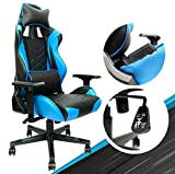 Blue Gaming Chair - Adjustable Video Game Chairs with PU Leather, Computer Chair with Lumbar Support & 180° Recline, Easy to Assemble & Comfortable Ergonomic Office Chair, Supports up to 330 lbs - Best Reviews Guide