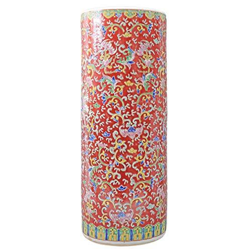 tea4chill Schirmständer/Regenschirmständer/Schirmhalter/Ständer 56cm aus Keramik in rot