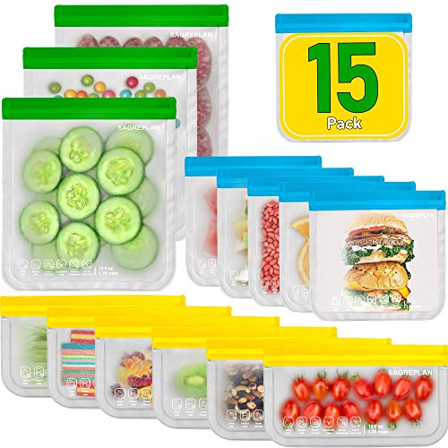 Reusable Storage Bags For Food - 15 Pack Ziplock Freezer Bags | 3 Reusable Gallon Bags + 6 Reusable Sandwich Bags + 6 Reusable Snack Bags | Non Plastic/Silicone Lunch Bags For Kids