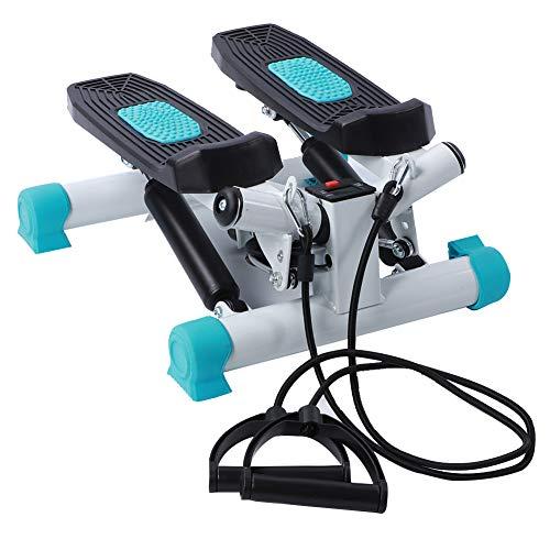 AYNEFY Stepper Mini Up-Down-Stepper mit Widerstandsbändern LCD-Display Treppen Fitnessgerät Swingstepper für Zuhause Fitness Gewicht Verlieren Trainieren Aerobic, schwarz + blau
