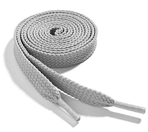 OrthoStep Wide Flat Athletic 42 inch Light Grey Shoelaces - Shoe and Sports Shoelaces 2 Pair Pack