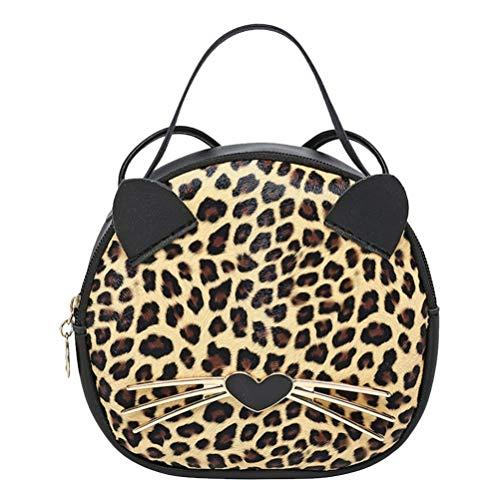 Fenical Bolso Tote creativo redondo de poliuretano pequeño bolso bandolera de grano de leopardo dibujos animados Orejas de gato Monedero para niñas (marrón moteado) Marrón Size: 18 * 16 * 6CM