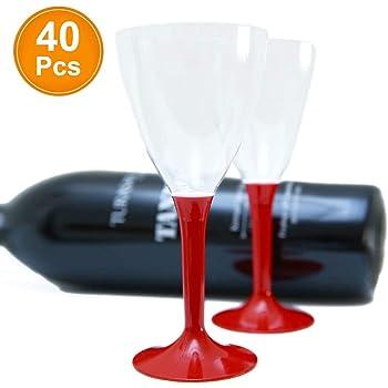 20 CALICI Vino Base Rossa PARTYSTOREWEB BY CASA DOLCE CASA Calice Vino con Base in PLASTICA di Colore Rosso per Compleanno Evento