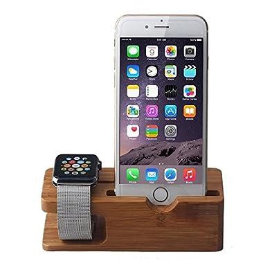 DRUnKQUEEn Apple Watch and iPhone Charging Stand, iPhone and iWatch Bamboo Wood Charging Stand Station Dock Platform