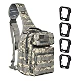 Tactical Sling Backpack, Military Rucksack Sport Daypack Shoulder Bag Molle Assault Bag Pack with 4 Free Tactical D-Ring Clips (CP Camouflage)