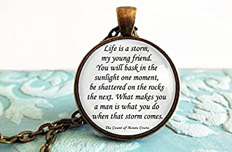 Life is a storm... The Count of Monte Cristo Book Quote Necklace Keychain Key Ring pendant jewelry Literature necklace Literary jewelry