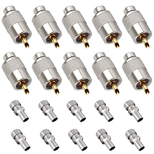 Linkhood 10 Pack UHF PL259 Solder Connector Plug with Reducer for RG8x, RG8, RG59, LMR-400, RG-213 Coaxial Coax Cable,Teflon Material 50ohm Low Loss RFAdapter Compatiable with Ham Radio Antenna