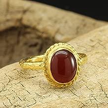 Natural Agate Carnelian Ring 925 Sterling Silver 24K Gold Vermeil Handcrafted Hammered Designer Roman Art Cabochon Gemstone Ring