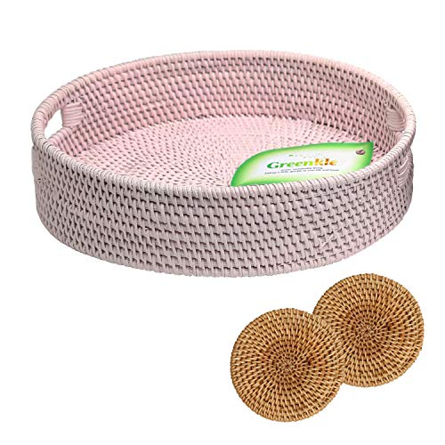 Decorative Serving Tray Round Rattan for Ottoman Coffee Table Dining Vanity Blush