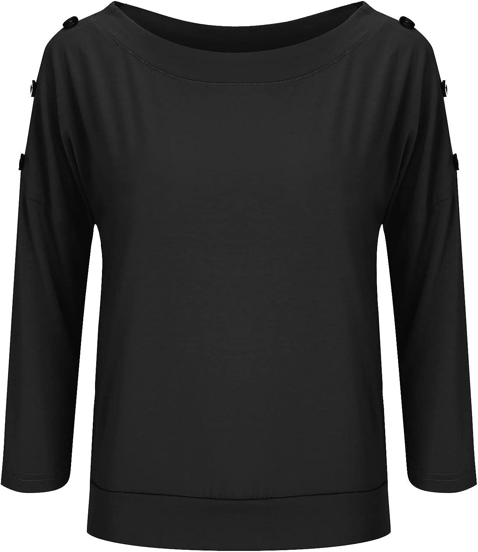 Virginia Beach Mall 3 4 Sleeve Tops for Women Neck Round Trendy Dallas Mall Button L Decoration
