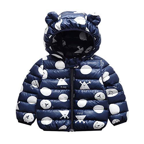 Minizone Baby Puffer Jacke mit Kapuze Jungen Mädchen Leichter Schneeanzug Kinder Herbst Winter Warmer Mäntel Outfits Mode Kleidung Geschenk 1-2 Jahre,Navy blau